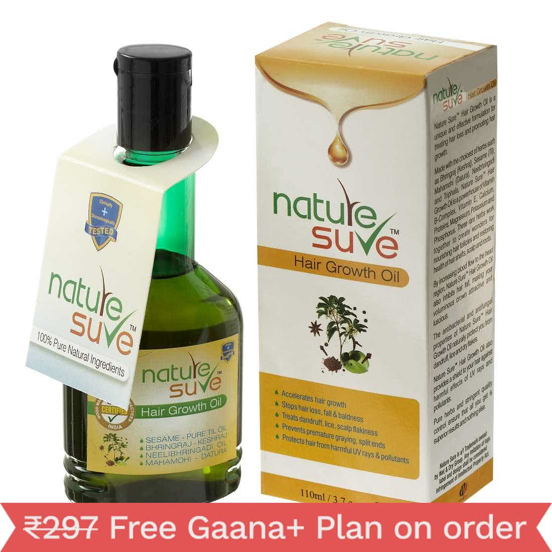 Nature Sure Hair Growth Oil for Darker and Stronger Hair in Men and Women - 1 Pack (110ml)