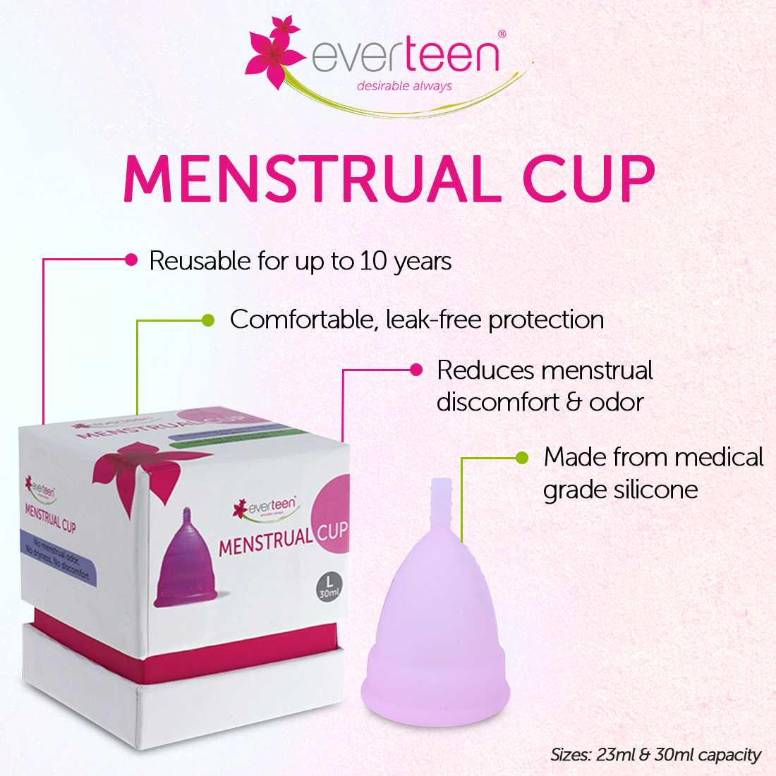 everteen Large Menstrual Cup for Periods in Women - 1 Pack (30ml capacity)