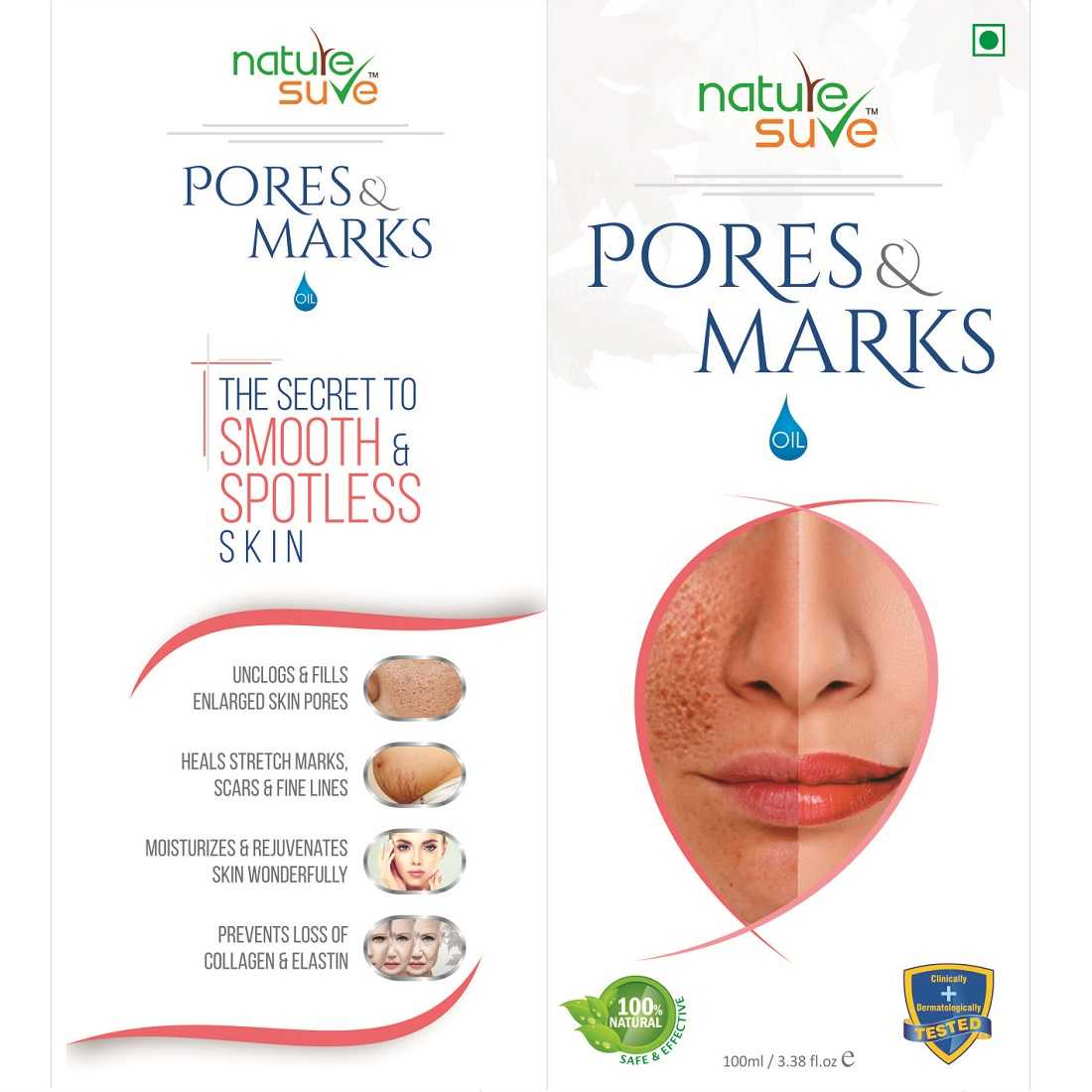 Nature Sure Pores and Marks Oil for Enlarged Pores & Stretch Marks in Men & Women - 1 Pack (100ml)
