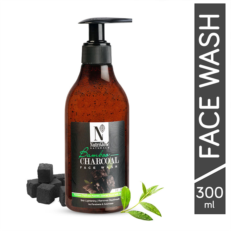 NutriGlow Natural's Bamboo Charcoal Face Wash With Bamboo Charcoal Powder   Sandal Wood With Tea Tree   Skin Lightening   Removes Blackheads   _300 ML