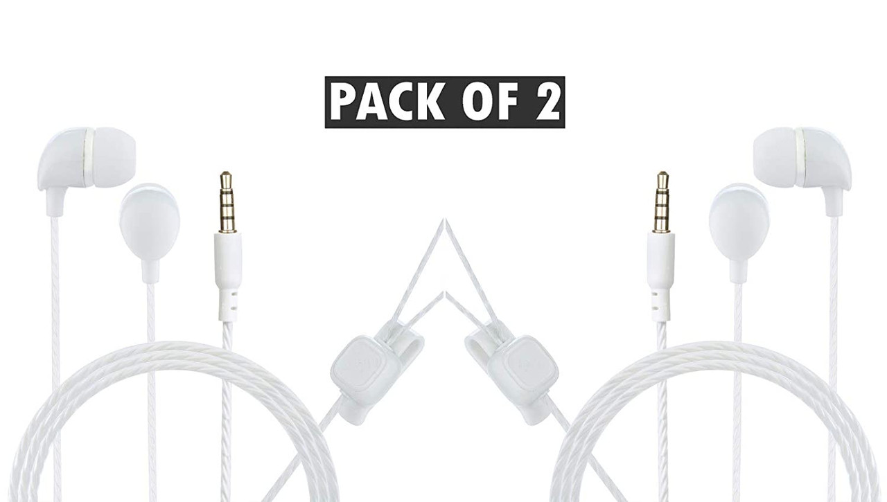 Hitage Super Bass Perfect Soundtrack Wired in-Ear Headphone Pack of 2 (WHITE)
