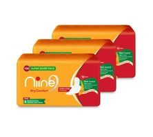 Niine Extra Long Sanitary Pads for women- With disposable bags inside- 18 pads count (Super Saver Pack) , Pack of 3