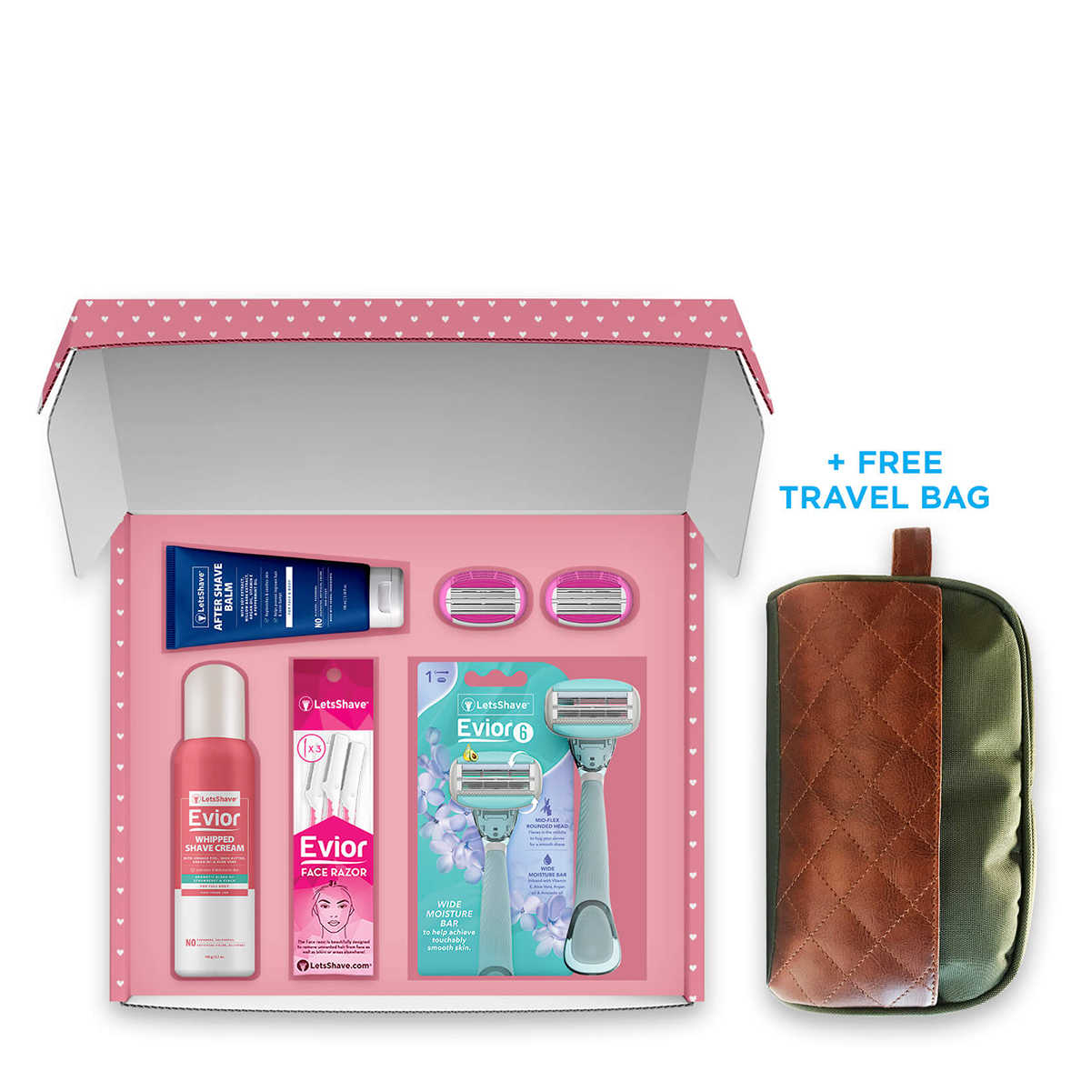 LetsShave Evior 6 Combo Gift Set for Women - Women Whipped Shaving Cream(150 g) + After Shave Balm + Evior 6 Handle + 3 Piece of face razor + 2 Blades + Free Travel Bag