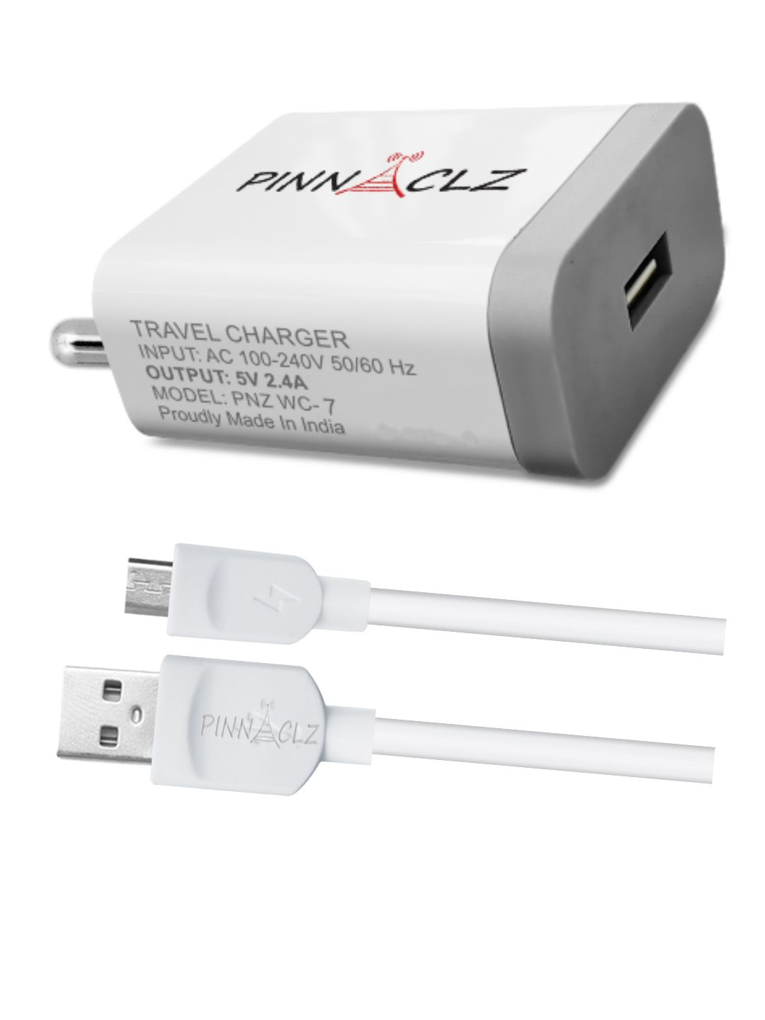 Pinnaclz Wall Charger Single USB 2.4 Amp + 3 Feet Sync & Charge Micro USB Data Cable
