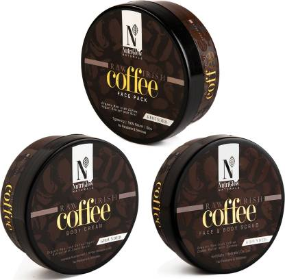 NutriGlow Natural's Coffee Combo – Face Pack|Body Cream|Face Body Scrub (200 Gm each) (3 Items in the set)