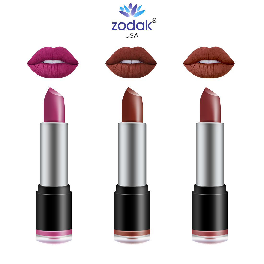ZODAK Retro - Matte Lipstick pack of 3 (Tomorrow, Ehel, Beuty, 38 g)