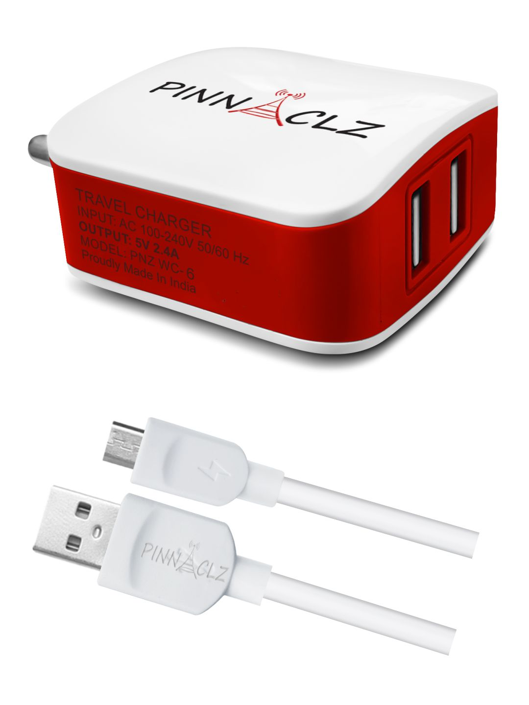 Pinnaclz Wall Charger Dual USB 2.4 Amp + 3 Feet Sync & Charge Micro USB Data Cable