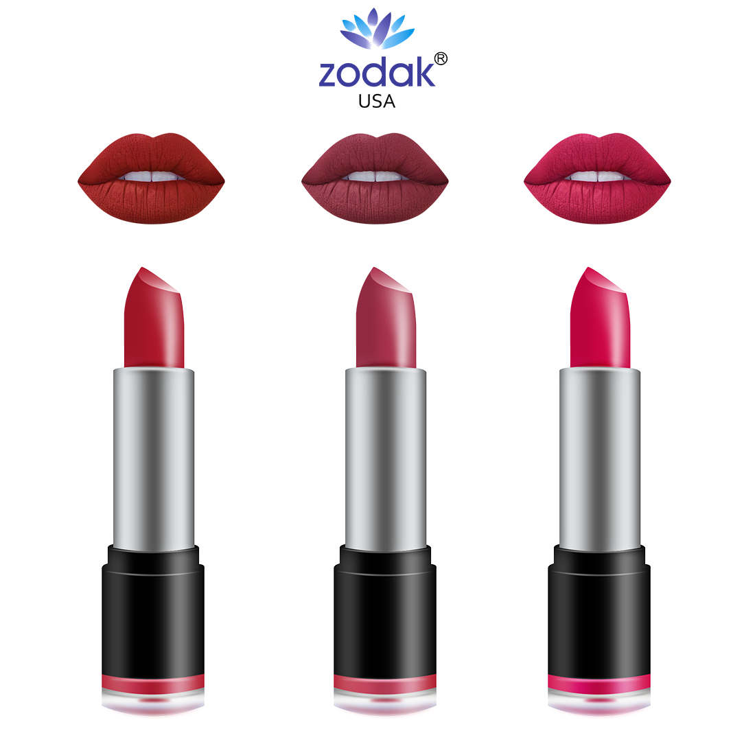 ZODAK Retro - Matte Lipstick pack of 3 (Terminator, spice Red, Sweet Red,, 38 g)