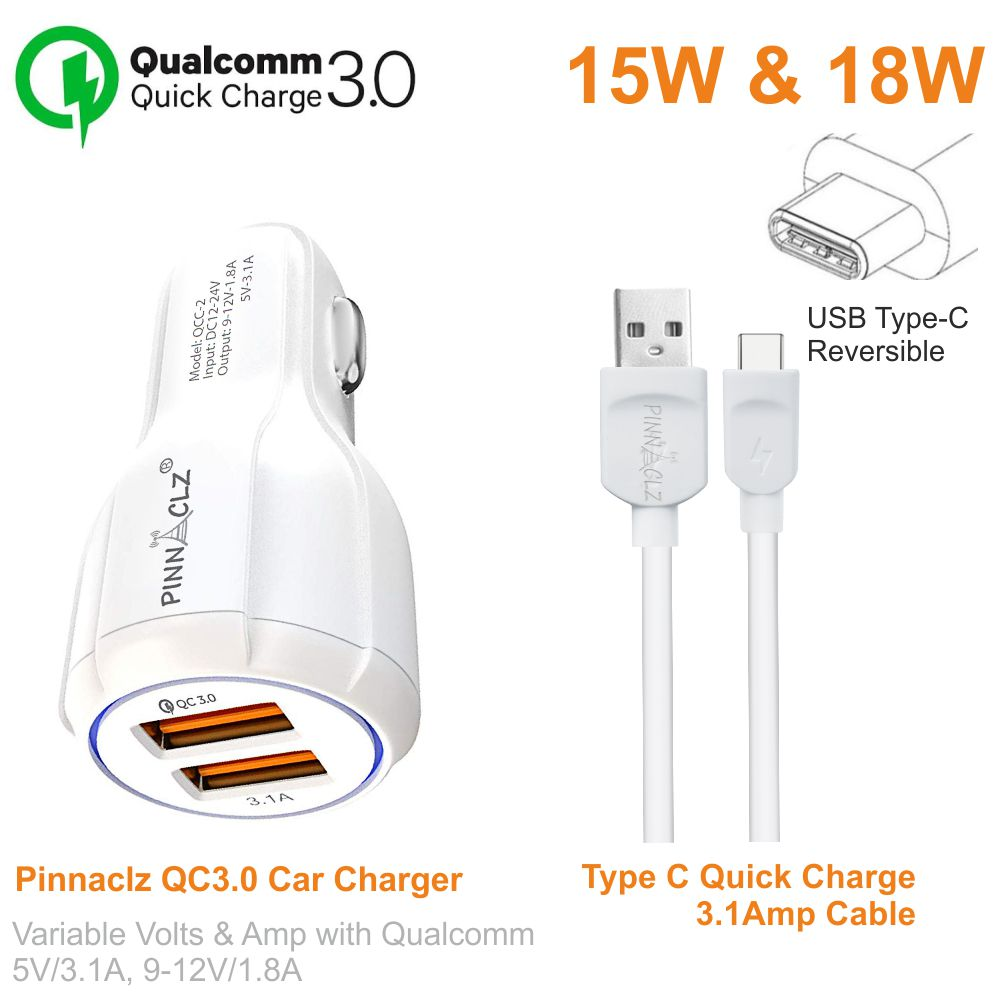 Pinnaclz Qualcomm QC3.0 Car Charger Dual USB 3 Amp + 3 Feet Sync & Charge Type C Data Cable