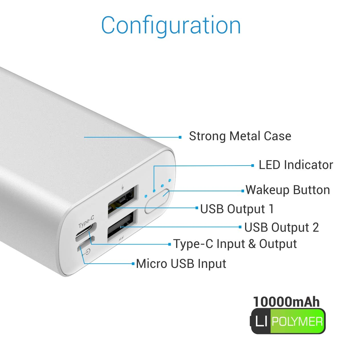 Portronics Power PERK 10K 10,000 mAh Power Bank with LED Indicator, 2.1A Dual Inputs (Type C + Micro USB) and 2.1A Dual USB Outputs + 2.1A Type C Output for All Android and iOS Devices (Silver)