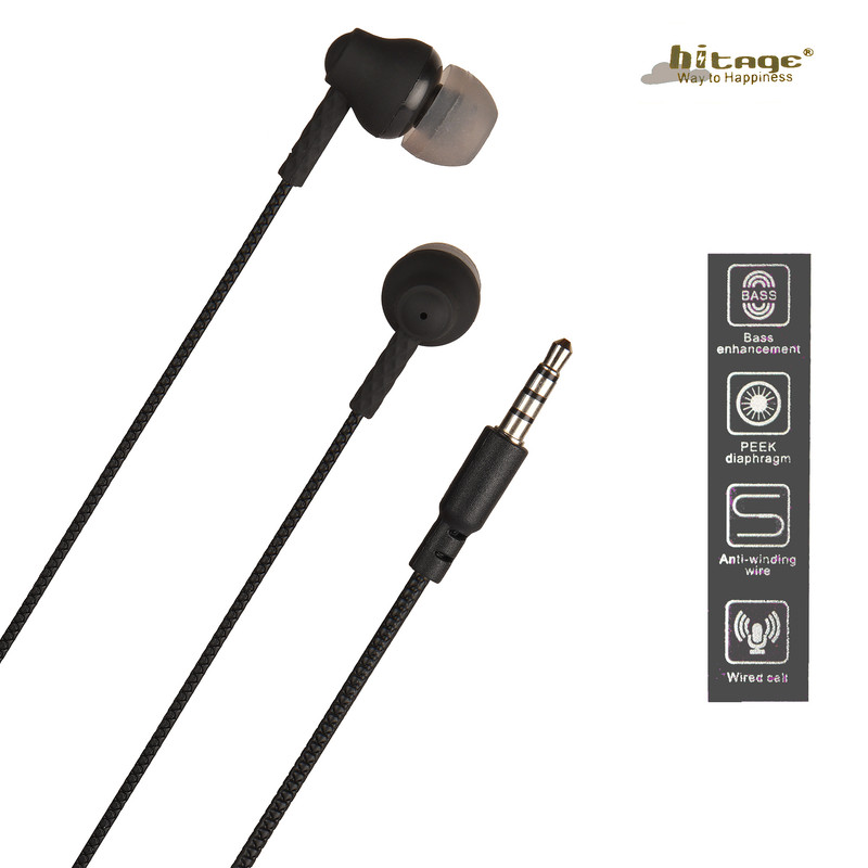 Hitage HIGH-DEFINITION Microphone earphone Wired Headset (Black, In the Ear)