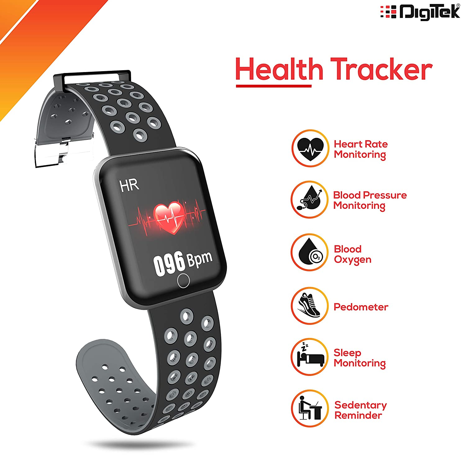 Digitek DSW-001 Fitness SmartWatch with Multi-Sports Mode | All Health Activity Tracking with Pedometer, BP Monitor and Heart Rate Monitoring | for Men and Women (Black)