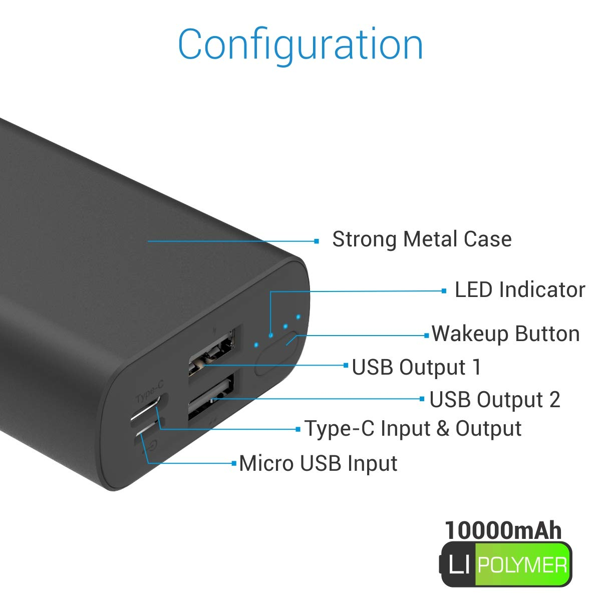 Portronics Power PERK 10K 10,000 mAh Power Bank with LED Indicator, 2.1A Dual Inputs (Type C + Micro USB) and 2.1A Dual USB Outputs + 2.1A Type C Output for All Android and iOS Devices (Black)