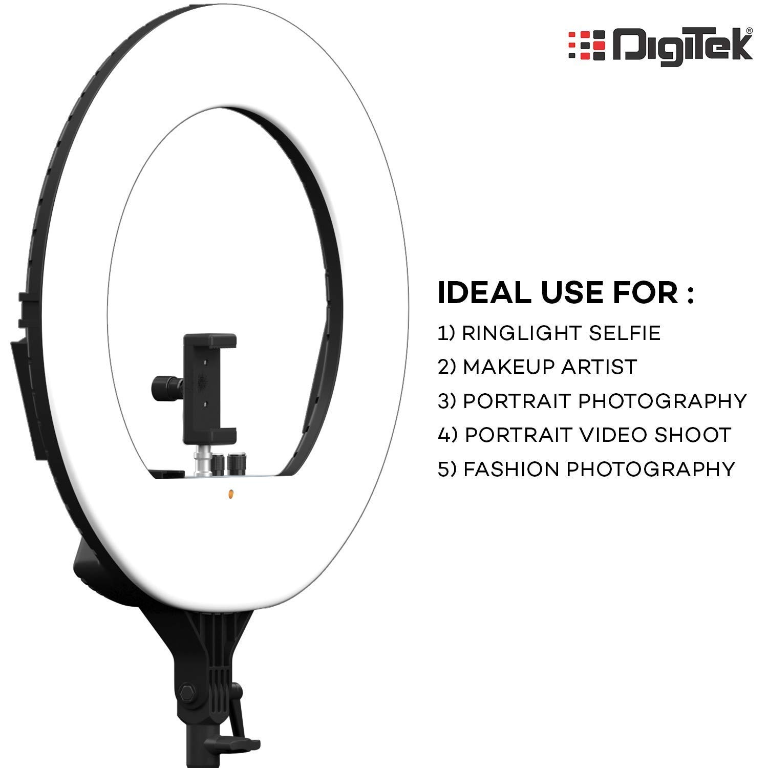 Digitek 18 Inches Big LED Ring Light with 6 feet Stand for Camera Smartphone. (DRL-18H C) YouTube Video Shoot/Makeup Shoot/Studio Shoots/Instagram Video Shoot. Many More.