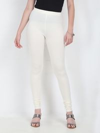 Marcia offwhite Solid cotton lycra churidar Leggings