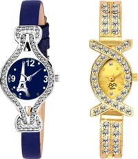 HRV Effile Blue And Oval Gold Cutglass Women Watch