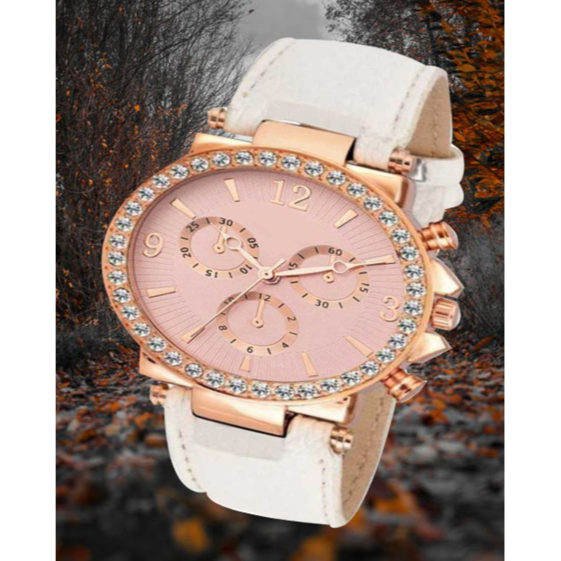 HRV Crono Pink Dial White Belt Leather Fancy Collection Women Watch
