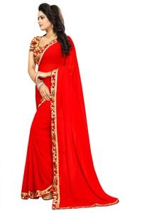 Mamta Red Poly Georgette Embroidered Saree with Blouse