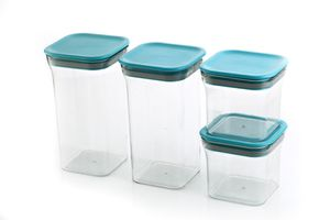 MOUNTHILLS Kit Kat Storage Jar 550ml & 1100ml Plastic Cereal Dispenser, Air Tight, Grocery Container, Fridge Container,Tea Coffee & Sugar Container, Spice Container (Blue, Pack Of 4)