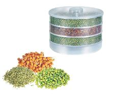MOUNTHILLS Plastic Sprout Maker with 4 Container Organic Home Making Fresh Sprouts Beans for Living Healthy Life Sprout Maker 4 Layer Bowl - 1000 ml (Clear, Pack Of 1)