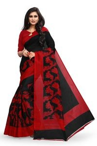 Sharda Creatoin Black Colour Printed Bhagalpuri Silk saree