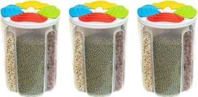 MOUNTHILLS Plastic 4 Section Storage Jar 1500ml Plastic Cereal Dispenser, Air Tight, Grocery Container, Fridge Container,Tea Coffee & Sugar Container, Spice Container (Multicolor, Pack Of 3)