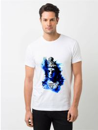 HamsaMART White Round Neck Printed T-Shirt For Men -T32