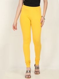 Marcia yellow Solid cotton lycra churidar Leggings