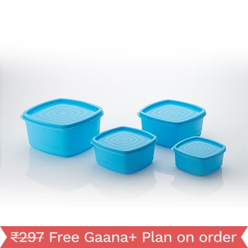 MOUNTHILLS Plastic Set of 4pcs Storage Jar & Container Plastic Cereal Dispenser, Air Tight, Grocery Container, Fridge Container,Tea Coffee & Sugar Container, Spice Container (Blue, Pack Of 4)