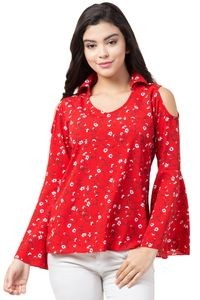 Showy Look Red Crepe Classic Collar Tops For Women