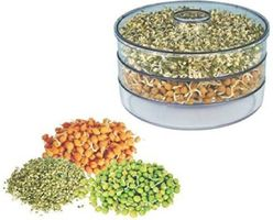 MOUNTHILLS Plastic Sprout Maker with 3 Container Organic Home Making Fresh Sprouts Beans for Living Healthy Life Sprout Maker 3 Layer Bowl - 1000 ml (Clear, Pack Of 1)