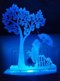 MOUNTHILLS Umbrella Love couple & Tree Night Lamp with 7 Color Changing 9 cm (Multiolor, Pack Of 1)