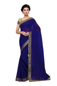 Mamta Blue Poly Georgette Embroidered Saree with Blouse