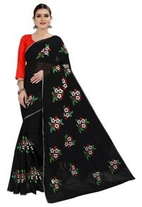 Mamta Black Art Silk Plain Saree with Blouse