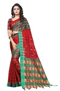 Mamta Red & Green Cotton Silk Woven Saree with Blouse