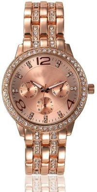 HRV Studded Rose Gold Watch - For Women