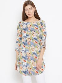 Aask Women's Multicolor Floral Printed Crepe Tunic