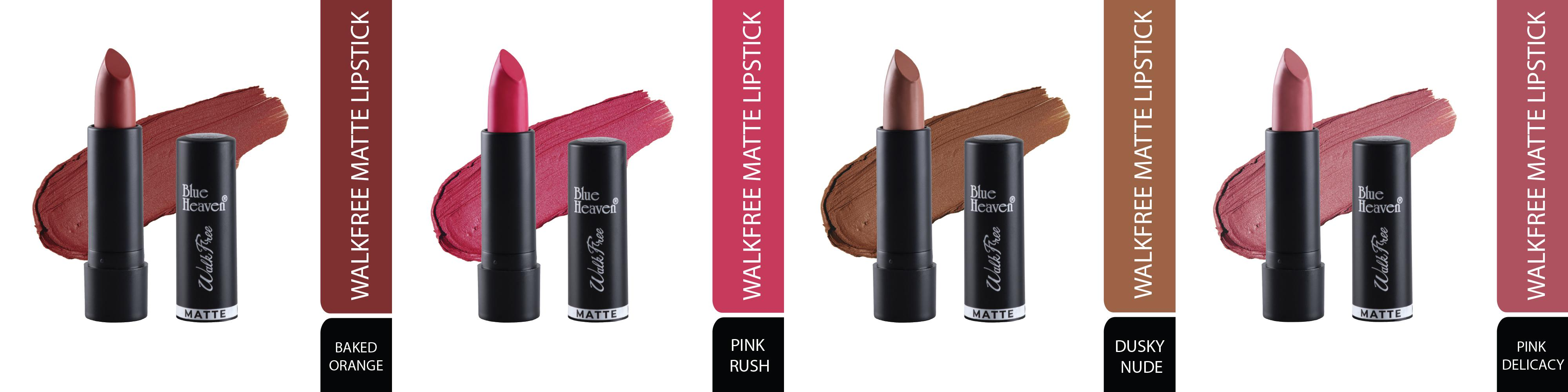 BH Walkfree Matte Lipstick Baked Orange, Pink Rush, Dusky Nude & Pink Delicacy pack of 4