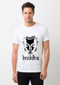 HamsaMART White Round Neck Printed T-Shirt For Men -T120
