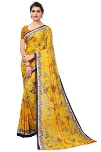Mamta Yellow Poly Georgette Printed Saree with Blouse