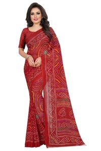 Mamta Red Poly Georgette Printed Saree with Blouse