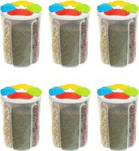 MOUNTHILLS Plastic 4 Section Storage Jar 1500ml Plastic Cereal Dispenser, Air Tight, Grocery Container, Fridge Container,Tea Coffee & Sugar Container, Spice Container (Multicolor, Pack Of 6)