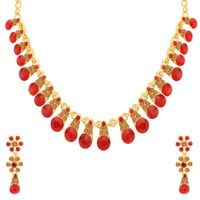 Sukkhi Charming LCT and Red Stone Gold Plated Choker Necklace Set for Women