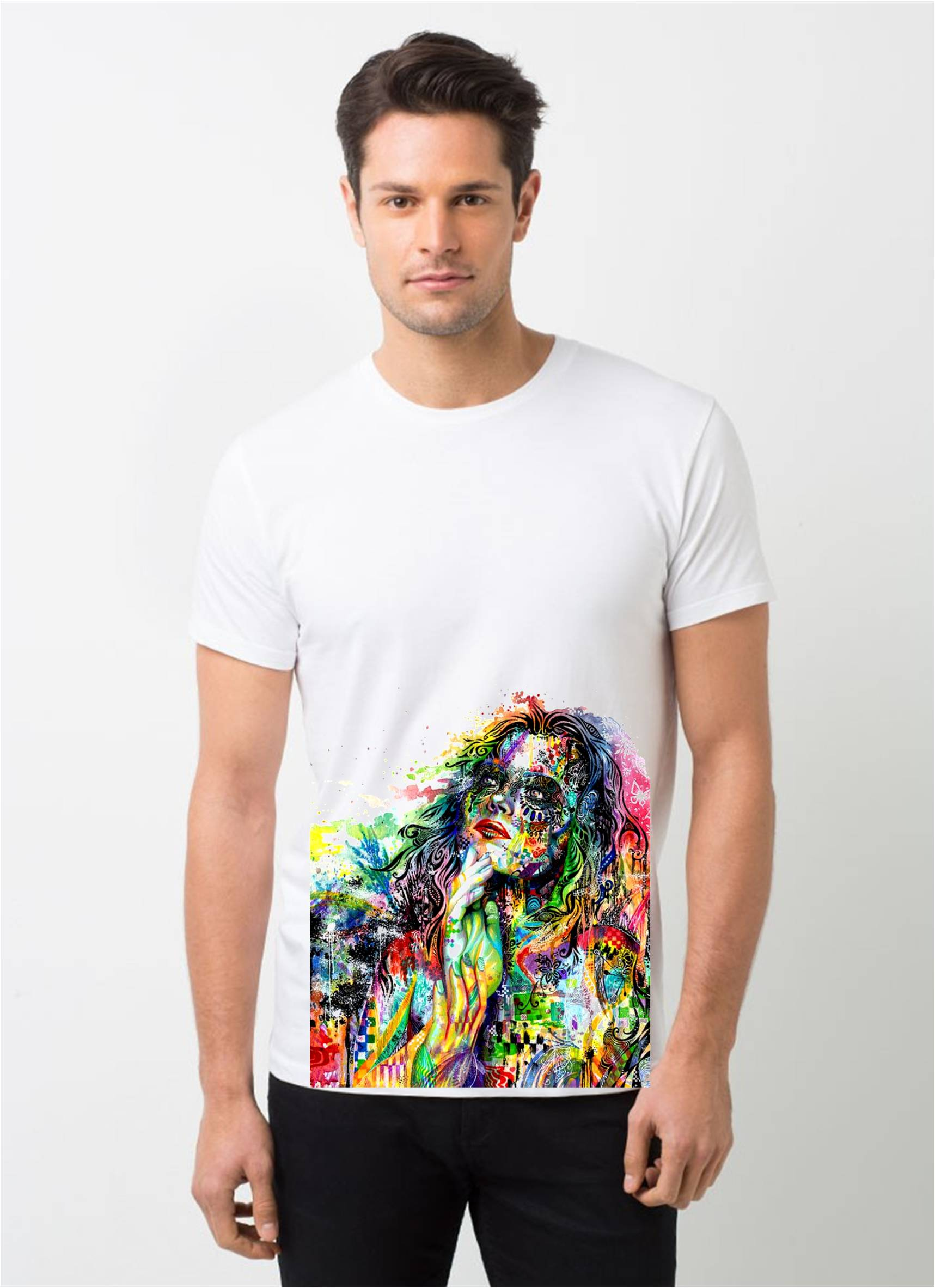 HamsaMART White Round Neck Printed T-Shirt For Men -T447