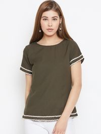 Aask Women's Green and Beige Color Plain Crepe Top