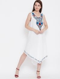 Aask Womens White Color Embroidered Rayon Dress