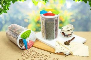 MOUNTHILLS Plastic 4 Section Storage Jar 1500ml Plastic Cereal Dispenser, Air Tight, Grocery Container, Fridge Container,Tea Coffee & Sugar Container, Spice Container (Multicolor, Pack Of 2)
