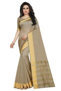 Mamta Beige Cotton Silk Woven Saree with Blouse