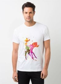 HamsaMART White Round Neck Printed T-Shirt For Men -T494