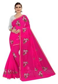 Mamta Pink Art Silk Plain Saree with Blouse